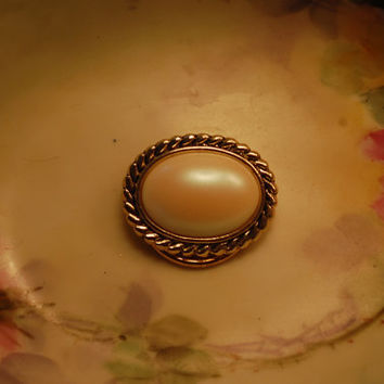1950s Mid Century - Western German Made - Gold Scarf Clip / Scarf Pin with faux Pearl - Brooch - Signed
