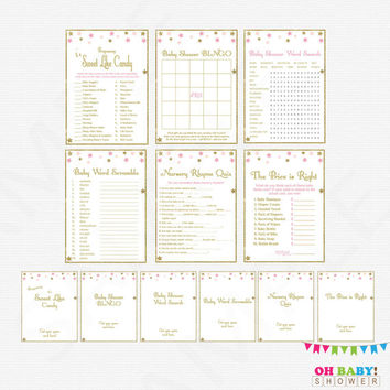 Twinkle Twinkle Little Star, Baby Shower Games Pack, games bundle, pink gold, printable baby shower games girl signs, Instant Download, STPG