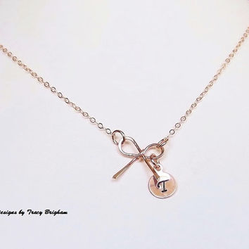 14K Rose Gold filled Initial Necklace Personalized Disc Bow Pendant Best Friend Bridesmaid Girlfriend Maid of Honor Mother Sister Gift Idea