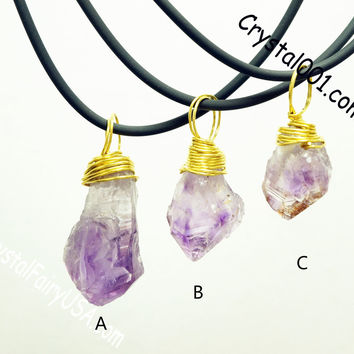 Rough amethyst necklace raw wrapped amethyst nugget pendant