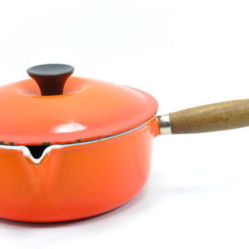 Le Creuset Saucepan Orange Cast Iron Enamel