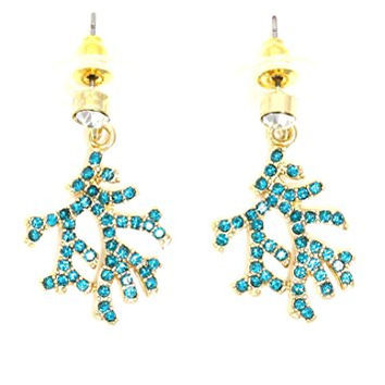 Crystal Coral Branch Dangle Stud Earrings Pave Gold Tone Sea Reef Charm Fashion Jewelry