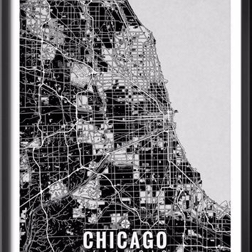 Chicago Illinois Map with Coordinates