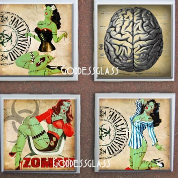Glass Coasters Pin Up Zombie Girls Sexy Horror Creepy Brains Halloween Trendy House Gift Drink Tile