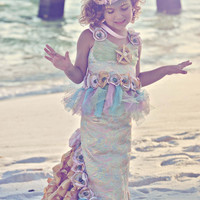 OCEAN'S SECRET MERMAID Costume-Dress Up, Portraits, Birthday, Pageant, Halloween-Little Girls (sizes 2-8)
