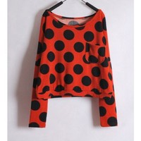 Women Euro Style Spring Dot Long Sleeve Scoop Orange Cotton Tops One Size @WH0182o $13.99 only in eFexcity.com.