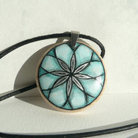 Wearable Art, Turquoise Necklace Wooden Pendant Turquoise Blue Jewelry, Leather Cord Necklace, Hand Painted & Designed by Dorota Polland
