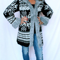 Macy's Style & Co. Sweater Coat Fur Trim Nordic Ski Fair Isles Black White $89
