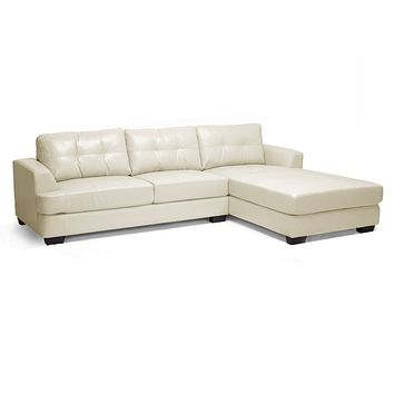 Cream Faux Leather Sectional Sofa - Not Reversible