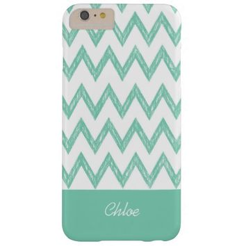 Trendy Pencil Mint Green Chevron Zigzags With Name Barely There iPhone 6 Plus Case