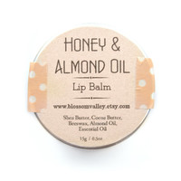 Honey & Almond Oil Lip Balm - Handmade, Honey Lip Balm, Natural lip balm, Sugar free, Lip Balm tin