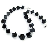 Black Onyx Handmade Necklace Diagonal Cubes Sterling Gemstone Jewelry