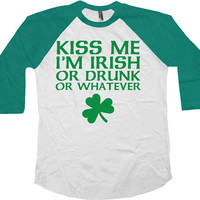 St Patrick's Day Raglan Sleeves Kiss Me I'm Irish American Apparel St Pattys Day 3/4 Sleeve T Shirt Irish Clothing Irish Gifts - SA559