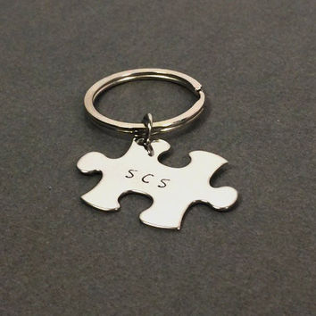 Single Puzzle Piece Keychain , Anniversary Gift