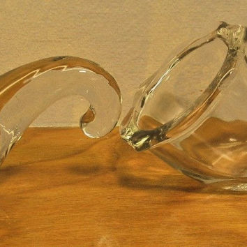 set of two clear glass horns paperweights