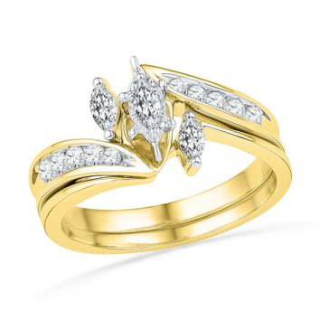 10kt Yellow Gold Womens Marquise Diamond 3-Stone Bridal Wedding Engagement Ring Band Set 1/2 Cttw