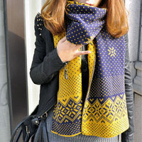 Blue And Yellow Thick Snowflake Print Scarf
