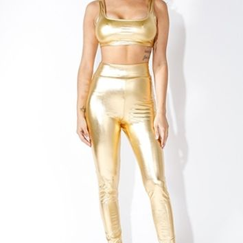 Gilty Pleasure Gold Metallic High Waist Stretch Leggings