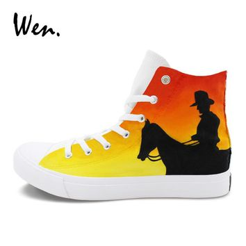Wen Men Women Sneakers Hand Painted Canvas Shoes Original Design West Cowboy Sketch Graffiti Painting Skateboarding Flat Shoe