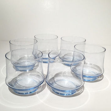 Vintage Ice Blue Libbey Cocktail Glasses, Drinking Glasses, Ice Blue Rocks Glasses