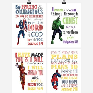 Christian Superhero Nursery Decor Art Print Set of 4 - Captain America, Hulk, Ironman and Spiderman - Multiple Sizes