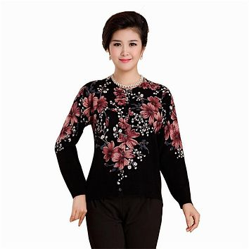 Women Sweaters 2016 Spring Autumn Winter Fashion High End Long Sleeve Single-Breasted Plus Size Flower Knitting Cardigans H142