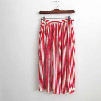 1980s vintage red and white striped skirt - vertical stripes - knee length - size xs