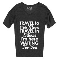 Travel to the Moon-Unisex Heather Onyx T-Shirt