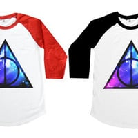 Deathly Hallows Galaxy Mixed - Sign Logo Harry Potter Book Geek American US Movie Hollywood Women Long Sleeve Baseball Shirt Tshirt Jersey