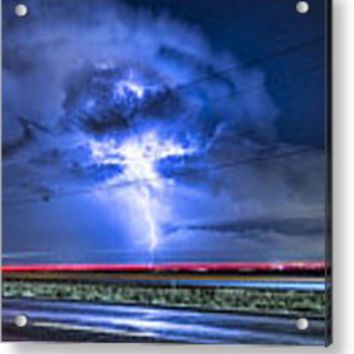 Alien Power Line Explosion Metal Print