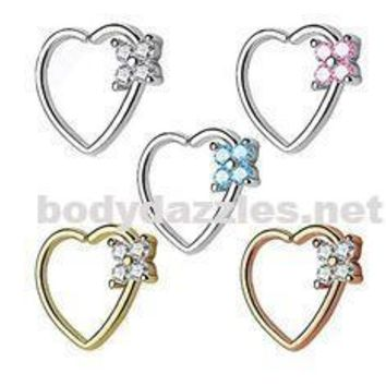 Four CZ Square Set Heart 16 Gauge Ear Cartilage/Daith Hoop RingsEar Cartilage/Daith Hoop Rings Helix Rook