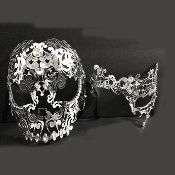 Men Women Couple Silver Metal Full Face Metal Evil Skull & Phantom Opera Venetian Laser Cut Masquerade Eye Masks