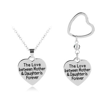New Design The love Between Mother&Daughter Letter Pendant Necklaces& Key Chain For the High Quality Gift of Mother's Day