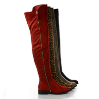 Paulina1 Zip Up Thigh High Faux Suede Boots