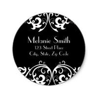 Black and White Damask Address Label Round Stickers from Zazzle.com