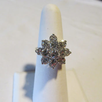 2.5 carat Diamond Ring 14kt White Gold Diamond Ring Cluster Diamond Ring With Appraisal Brilliant Diamond White Gold
