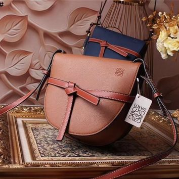 Ready Stock Loewe Women's Leather Gate Inclined Shoulder Bag #802