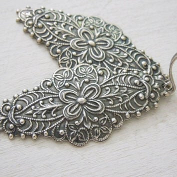Filigree Earrings - Antiqued Silver Ornate Oval Filigree Pendant Earrings Silver Fish Hook Ear Wires