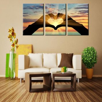 Canvas painting wall picture art print Ocean Hearts Modular pictures painting on  wall Modular wall paintings canvas painting