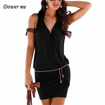 Fashion Pure Color Women Dresses Vestidos Female Sexy Deep V-neck Sleeveless Frocks Ladies Mini Dress With Belt  YN3022