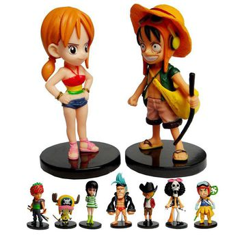 One Piece MINI Action Figure Set 9 Pieces Total