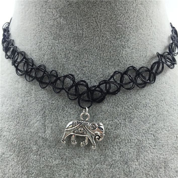 Tattoo Choker Necklace with Elephant Pendant + Gift Box-31