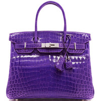 Hermes 30cm Ultraviolet Shiny Nilo Crocodile Birkin by Heritage Auctions Special Collections - Moda Operandi