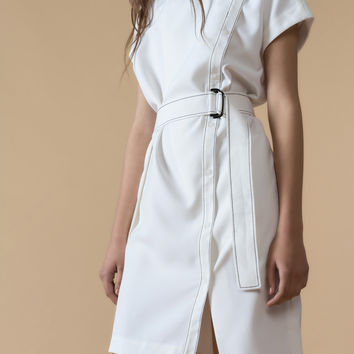 Belted Wrap Mini White Dress