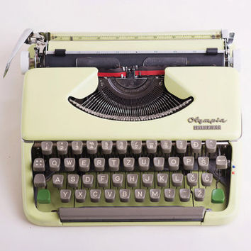 Vintage Restored  Olympia Splendid 66 portable Typewriter / Light green typewriter ''60s Home Decor