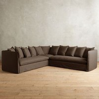 Basketweave Linen Carlier Slipcover Sectional by Anthropologie