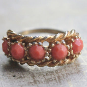 Vintage Coral Gold Cocktail Ring- Coral PInk Beads-Gold  Tone Adjustable-Size 8 --POP VINTAGE