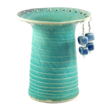 Ceramic Earring Holder Organiser Aqua Green Matte Glaze Handmade Pottery for Jewellery Display by Dawn Whitehand