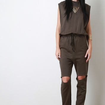 Open Knee Jogger Jumpsuit