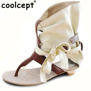 Women Summer Hot Flat Sandals High Ladies Slippers Heel Shoes Sexy Female Gladiator Sh